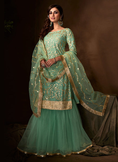 Mint Green Traditional Gharara Suit