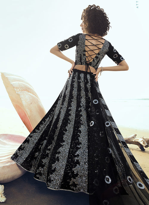 Indian Lehanga - Black Sequence Embroidered Lehenga Choli In usa uk canada
