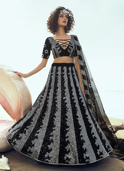 Black Sequence Embroidered Lehenga Choli