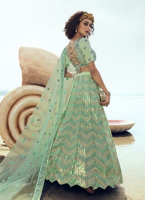 Indian Lehanga - Mint Green Sequence Embroidered Lehenga Choli In usa uk canada