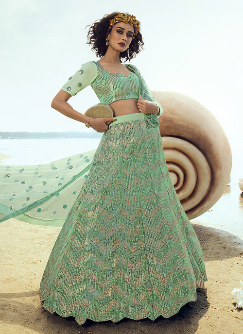 Mint Green Sequence Embroidered Lehenga Choli