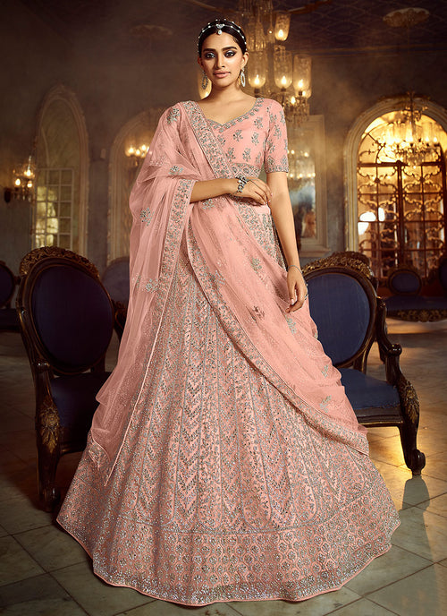 Peach Wedding Lehenga Choli With Handwork Embroidery