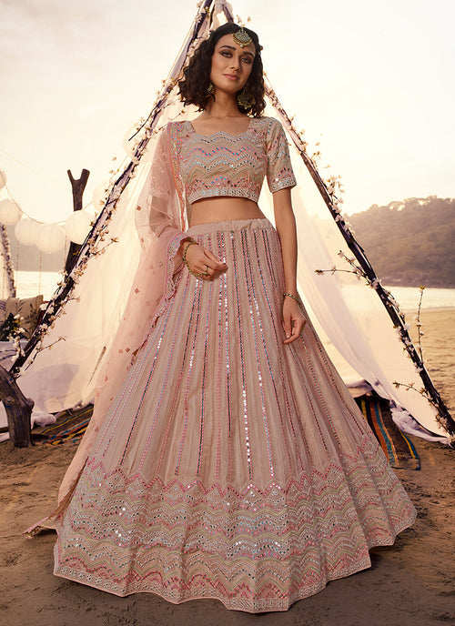 Pale Pink Embroidered Lehenga Choli