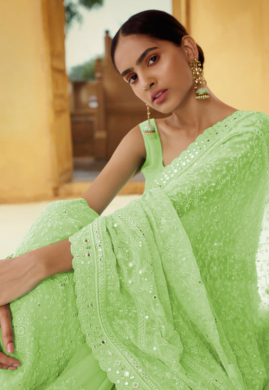 Lime Green Chikankari Embroidered Party Wear Saree