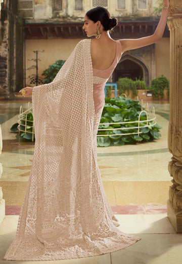 Peach Sequence Embroidered Party Wear Saree