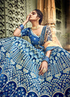 Navy Blue And Golden Designers Wedding Lehenga Choli, Lehenga
