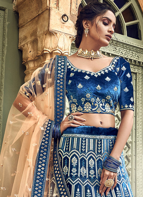 Navy Blue And Golden Designers Wedding Lehenga Choli