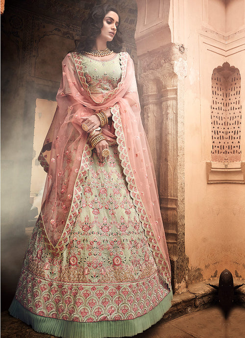 Peach And Green Lehenga Choli
