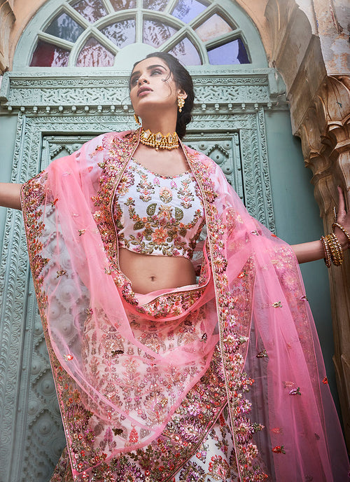 Off White And Pink Designers Wedding Lehenga Choli, Lehenga