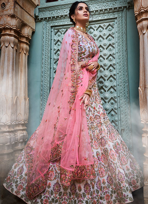 Off White And Pink Designers Wedding Lehenga Choli
