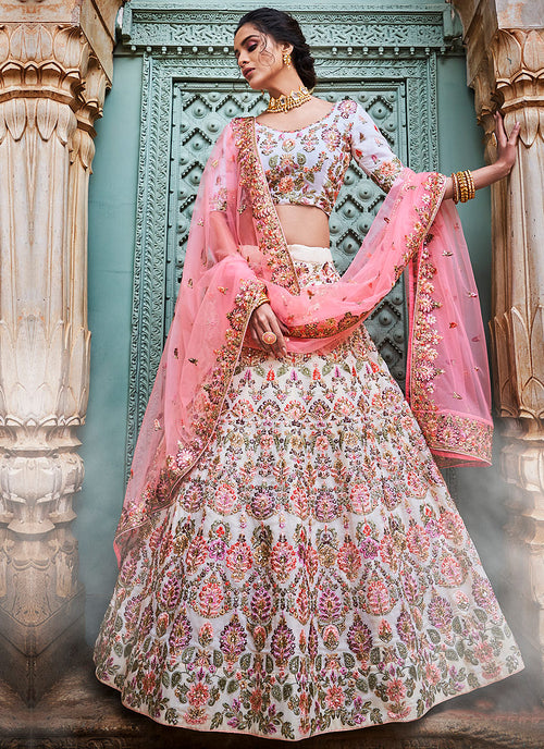 Indian Clothes - Off White And Pink Designers Wedding Lehenga Choli