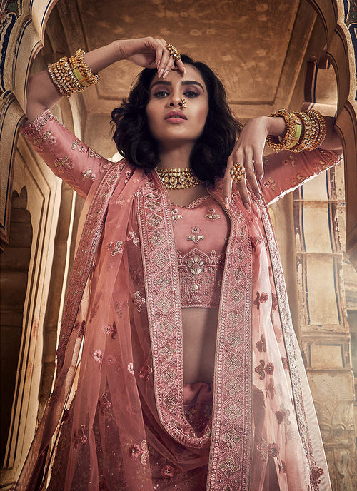 Pink Allover Embroidered Wedding Lehenga Choli, Lehenga