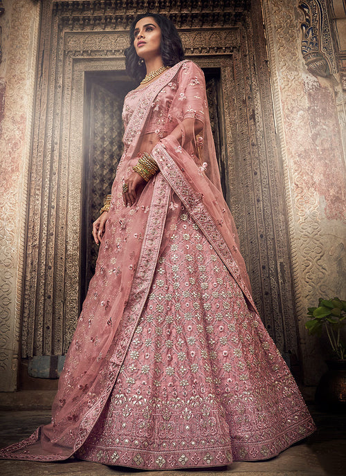 Pink Allover Embroidered Wedding Lehenga Choli
