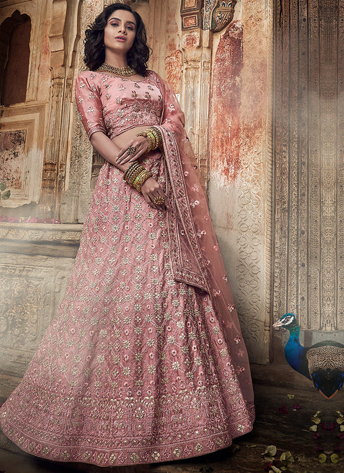 Indian Clothes - Pink Allover Embroidered Wedding Lehenga Choli
