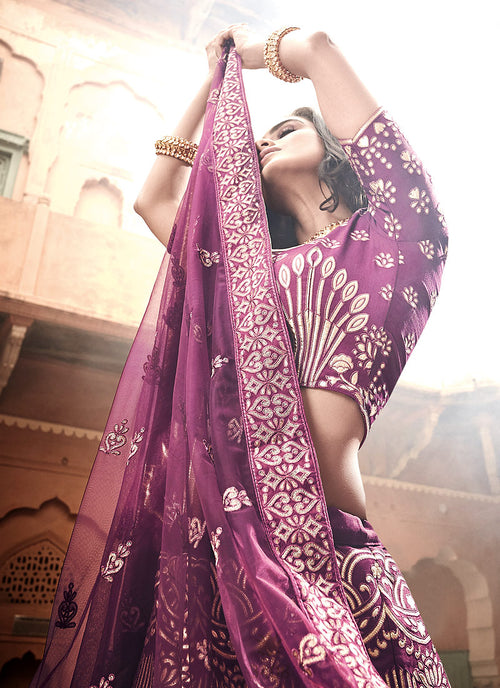 Plum Purple Multi Embroidered Wedding Lehenga Choli, Salwar Kameez