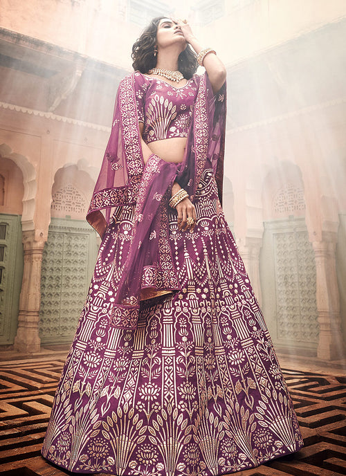 Plum Purple Multi Embroidered Wedding Lehenga Choli