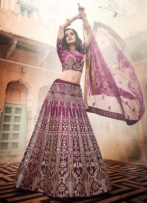 Indian Clothes - Plum Purple Multi Embroidered Wedding Lehenga Choli