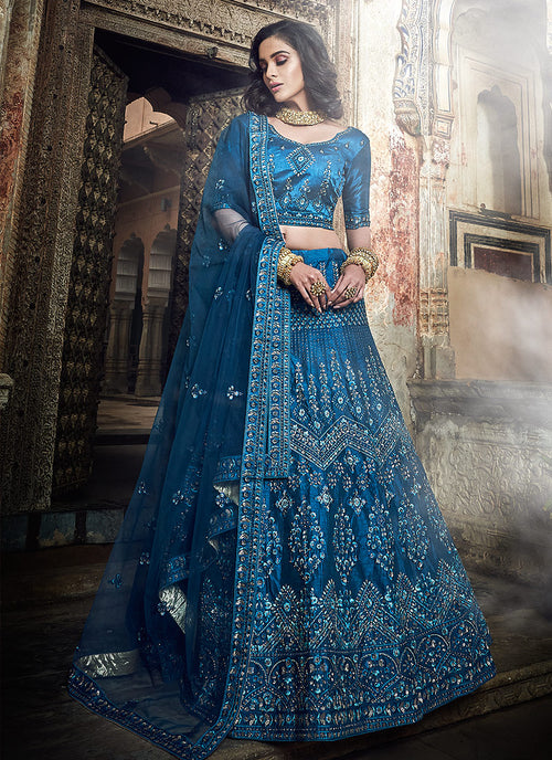 Indian Clothes - Peacock Blue Embroidered Wedding Lehenga Choli