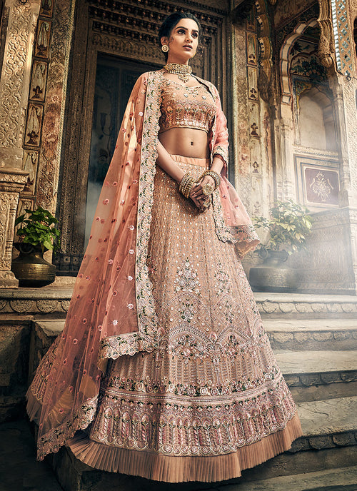 Indian Clothes - Light Brown Multi Embroidered Wedding Lehenga Choli