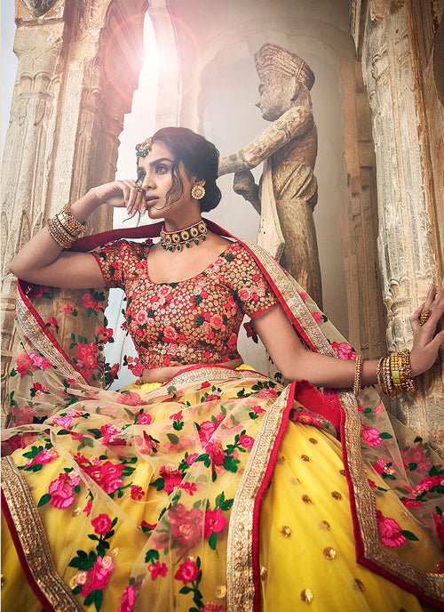 Yellow And Red Designer Wedding Lehenga Choli, Salwar Kameez