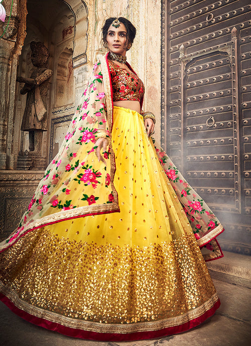 Yellow And Red Designer Wedding Lehenga Choli
