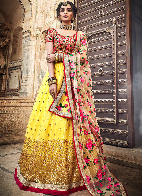 Yellow And Red Lehenga Choli