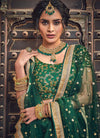 Dark Green Golden Designer Wedding Lehenga Choli, Salwar Kameez
