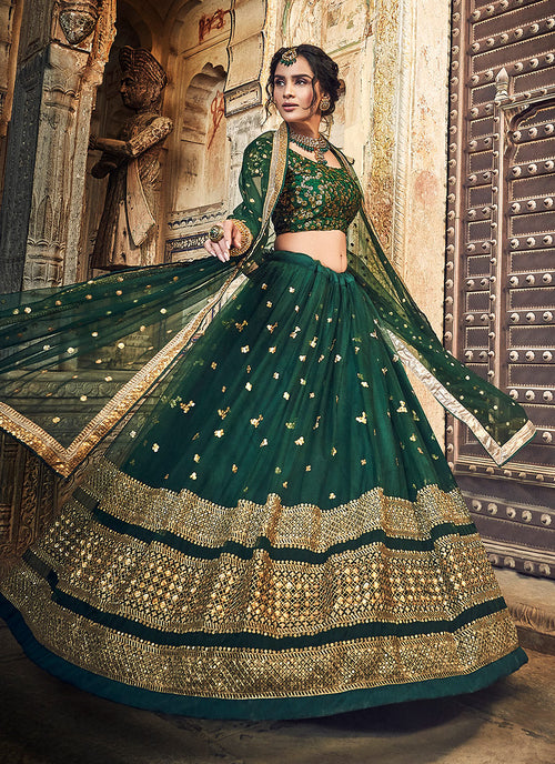 Dark Green Golden Designer Wedding Lehenga Choli