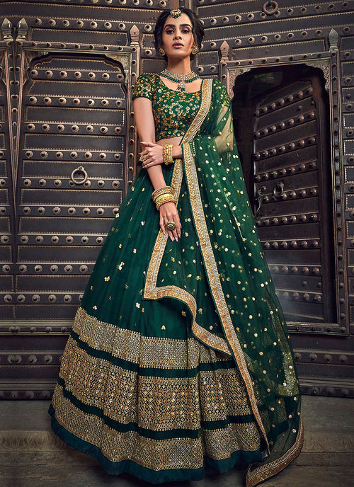 Indian Clothes - Dark Green Golden Designer Wedding Lehenga Choli
