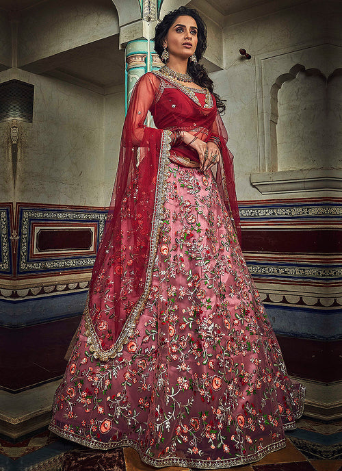 Indian Clothes - Red Designer Wedding Lehenga Choli