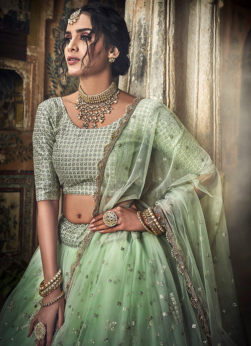 Sea Green Designer Wedding Lehenga Choli, Lehenga