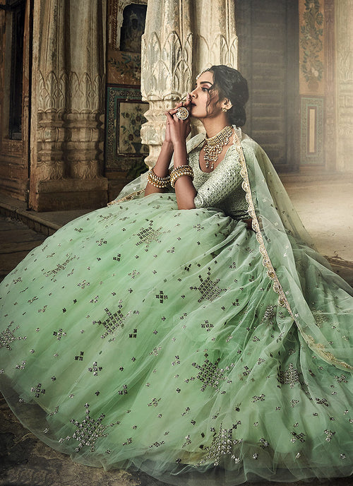 Sea Green Designer Wedding Lehenga Choli