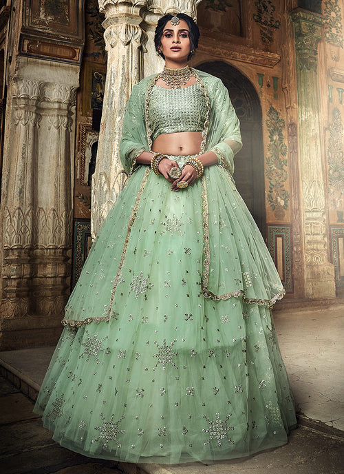 Indian Clothes - Sea Green Designer Wedding Lehenga Choli