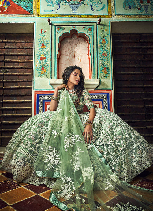 Light Green Designer Wedding Lehenga Choli