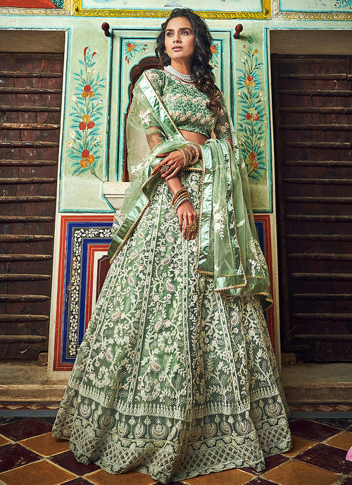 Indian Clothes - Light Green Designer Wedding Lehenga Choli