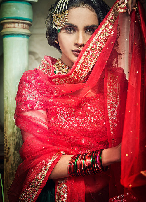 Green And Red Designer Wedding Lehenga Choli, Lehenga