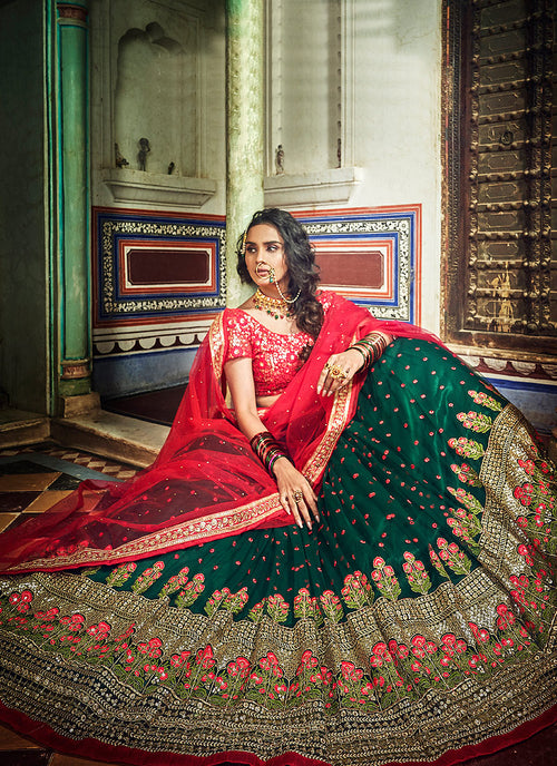 Green And Red Designer Wedding Lehenga Choli