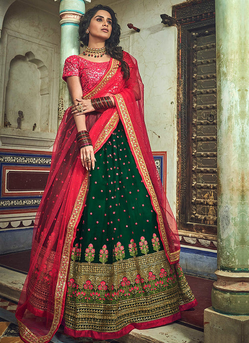 Indian Clothes - Green And Red Designer Wedding Lehenga Choli
