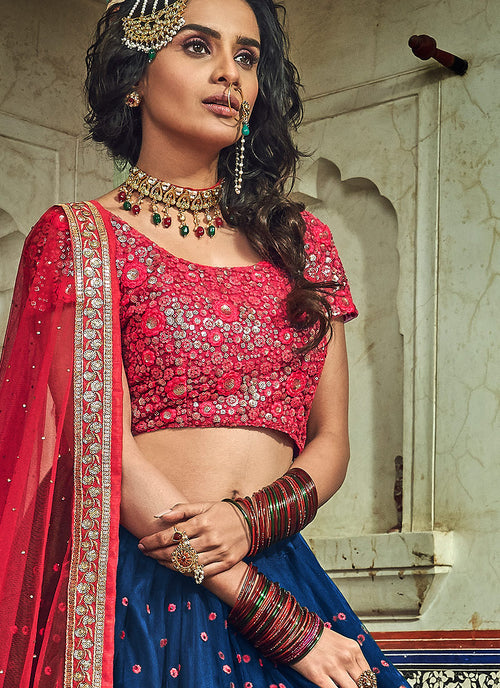 Blue And Red Designer Wedding Lehenga Choli, Lehenga