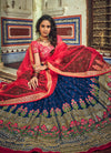 Blue And Red Designer Wedding Lehenga Choli