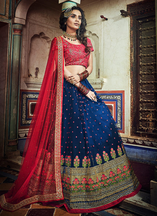 Blue And Red Designer Lehenga Choli