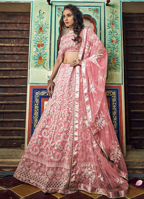 Indian Clothes - Peach Designer Wedding Lehenga Choli