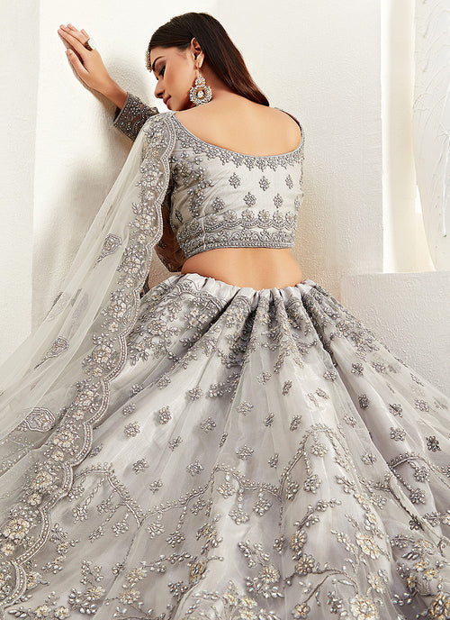 Indian Clothes - Silver Grey Multi Embroidered Lehenga Choli