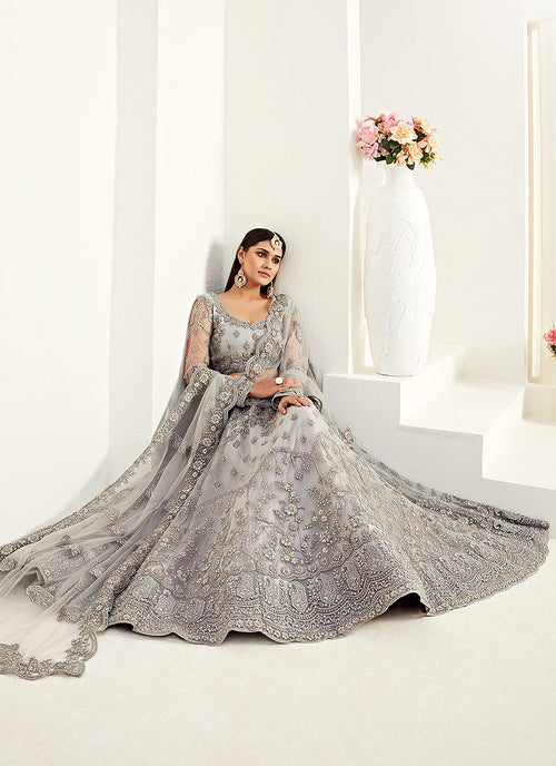 Indian Suits - Silver Grey Lehenga Choli In usa