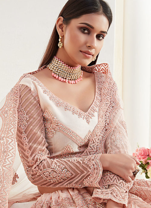 Indian Clothes - Baby Pink Designer Wedding Lehenga Choli