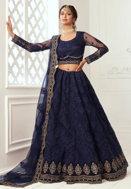Navy Blue Golden Wedding Lehenga Choli