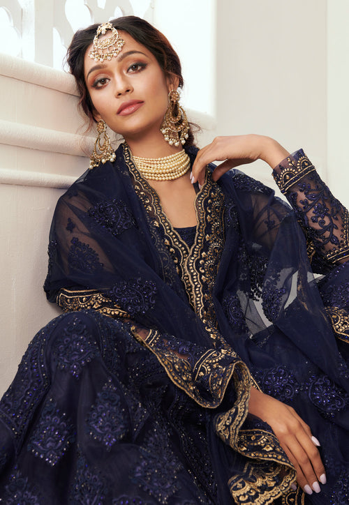 Navy Blue Golden Lehenga Choli In usa