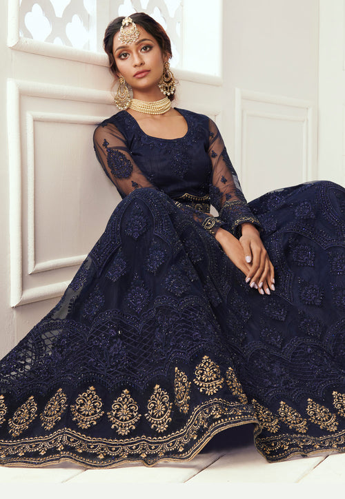 Navy Blue Golden Lehenga Choli In usa uk canada