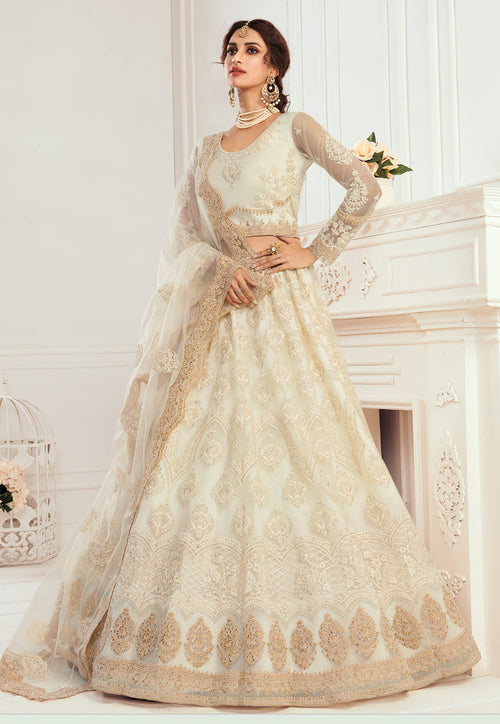 Beige Golden Wedding Lehenga Choli