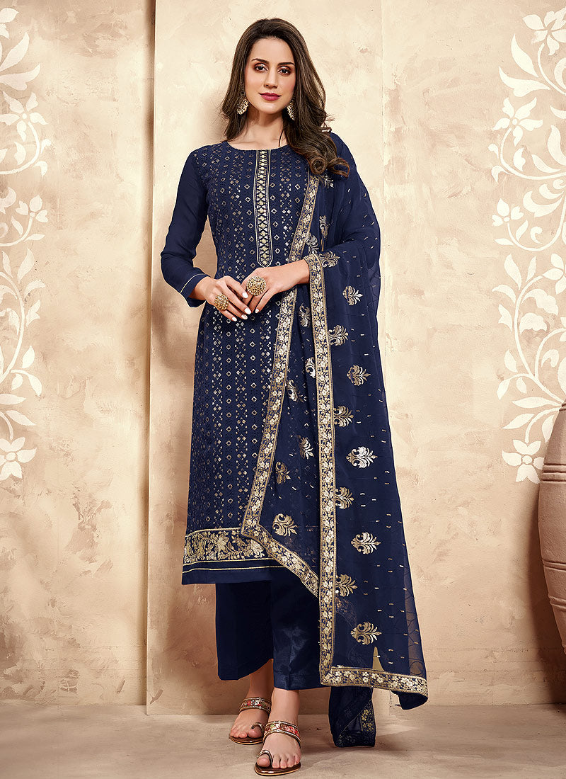 Navy Blue Sequence Embroidered Pakistani Pant Suit